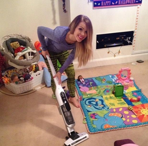 Katie Piper hoovering from Instagram, 30/10/14