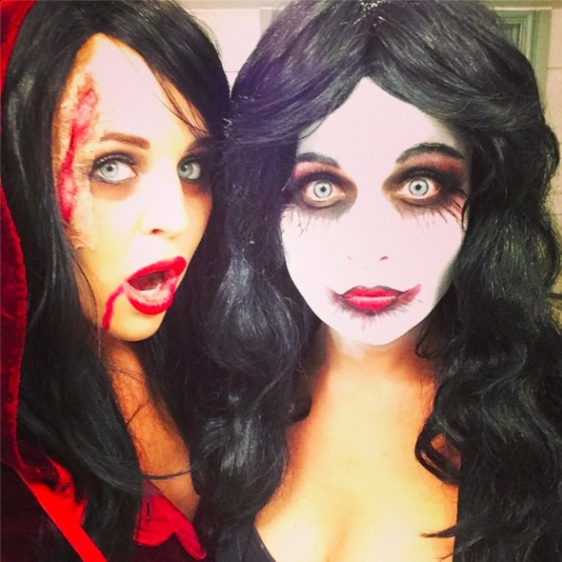 Lydia Bright and her sister Georgia celebrate Halloween in fancy dress, 31 October 2014