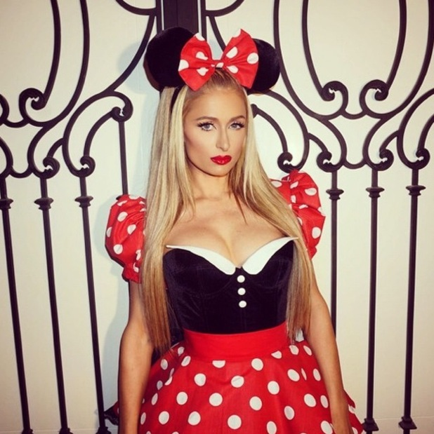 Paris Hilton dresses as Minnie Mouse for a Halloween party in Los Angeles - 25 October 2014