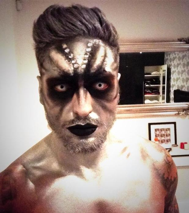TOWIE's Mario Falcone wears Halloween make-up = 29 Oct 2014