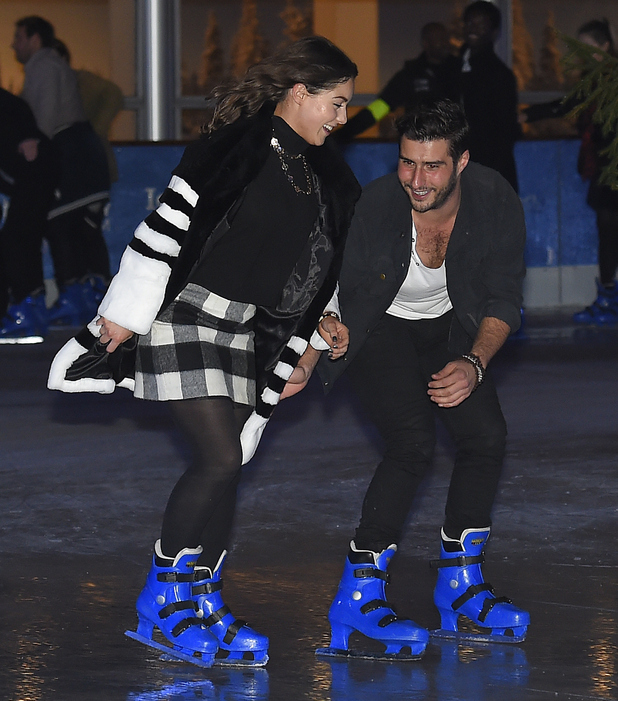 Louise Thompson and Alik Alfus attend The Natural History Museum Ice Rink Launch on October 29, 2014 in London, England.