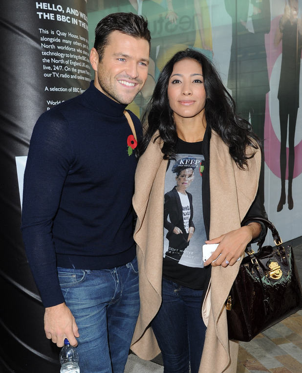 Strictly Come Dancing's Mark Wright and Karen Hauer leave the BBC Breakfast studios at MediaCityUK 28 October
