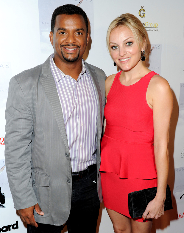 Alfonso Ribeiro and Angela Unkrich attend Mark Ballas Debuts EP 'Kicking Clouds' at Crustacean on September 16, 2014 in Beverly Hills, California.