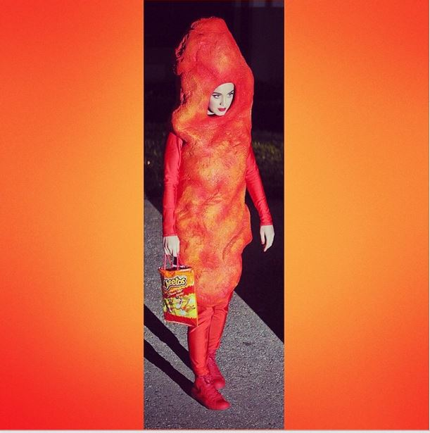 Katy Perry dressed as a cheeto for Halloween