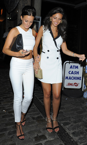 Michelle Keegan with a friend on her birthday in London on 6 June 2014
