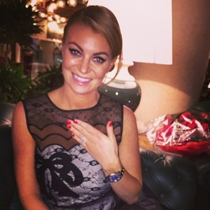 Billi Mucklow shows off engagement ring, Rome 3 November