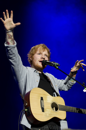 Ed Sheeran performs for a sold out crowd at the Ziggo Dome in Amsterdam - 3/11/2014.