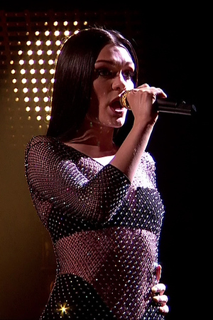 Jessie J performing her song 'Bang Bang' on the results show of 'The X Factor'. Shown on ITV1 HD. 19 October 2014.