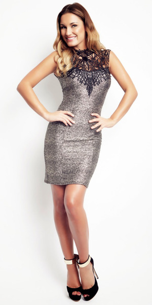 Sam Faiers models a dress from Minnies Love and shoes from House of CB in a shot for her Reveal fashion and beauty column