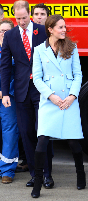 Pregnant Kate Middleton and Prince William visits the Pembroke Refinery, 8 November 2014