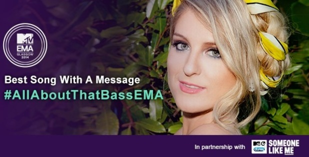 Meghan Trainor nominated for MTV EMAs 'Best Song with a Message' 4 November