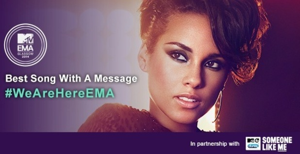 Alicia Keys nominated for MTV EMAs new award 'Best Song with a Message' 4 November
