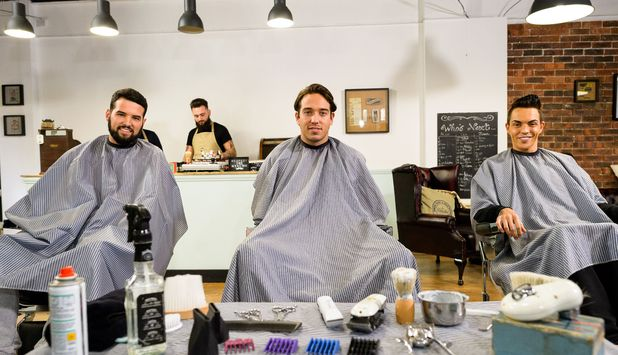 Ricky Rayment, James Lock, Bobby Norris at the salon, TOWIE 5 November