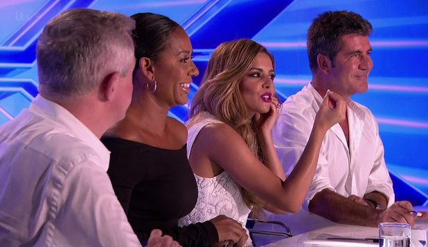 X Factor judges - Cheryl Fernandez-Versini, Simon Cowell, Mel B, Louis Walsh - 8 September 2014.