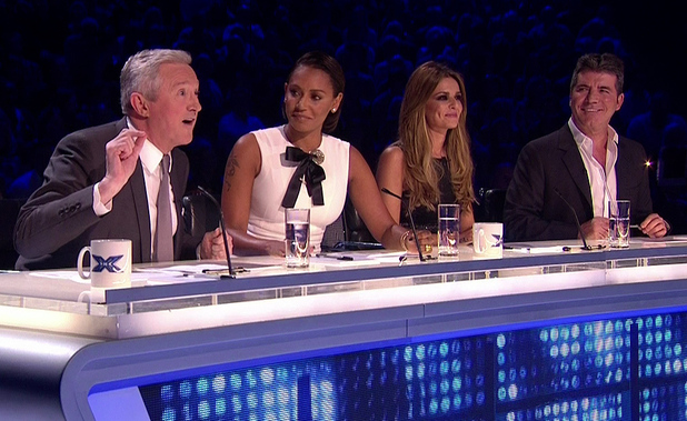 Louis Walsh, Mel B, Cheryl Fernandez-Versini and Simon Cowell on the first live show of 'The X Factor'. Shown on ITV1 HD. 11 October 2014.