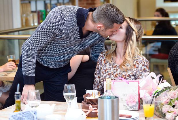 The Only Way is Essex cast filming, 'Chloe's Birthday Party', Wildwood restaurant, Essex, Britain. Elliott kisses Chloe - 02 Nov 2014