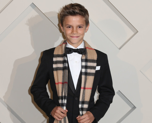 Romeo Beckham on the red carpet at the Burberry festive launch on 3 November.