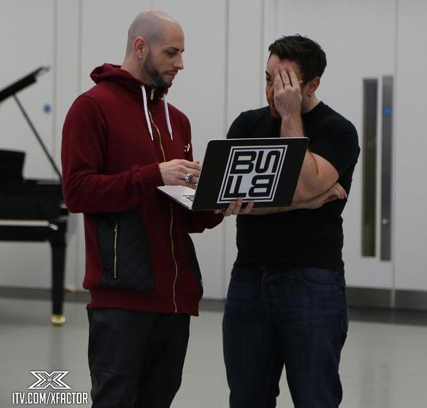 X Factor's Stevi Ritchie and Brian Friedman in rehearsals - 7 Nov 2014