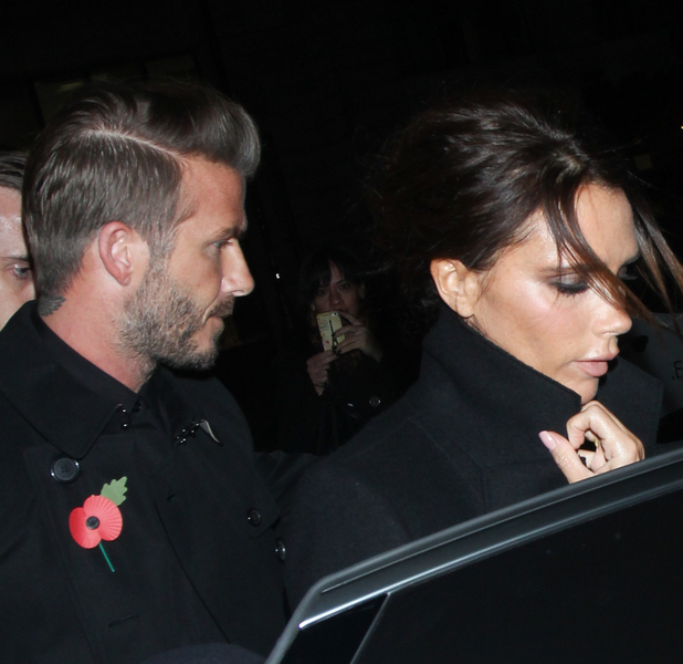 Victoria and David Beckham attend Burberry festive campaign launch. November 3