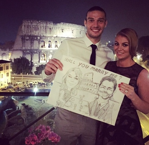 Billi Mucklow announces engagement to Andy Carroll, Rome 3 November