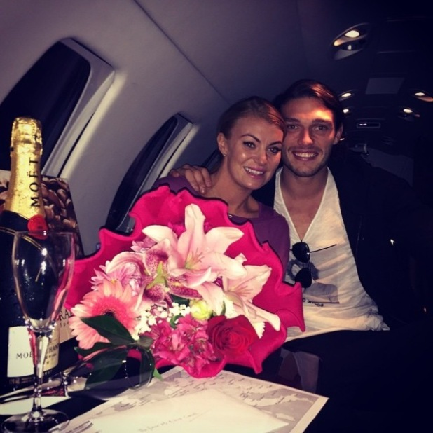 TOWIE's Billi Mucklow and Andy Carroll jet home after romantic engagement in Rome - 4 Nov 2014