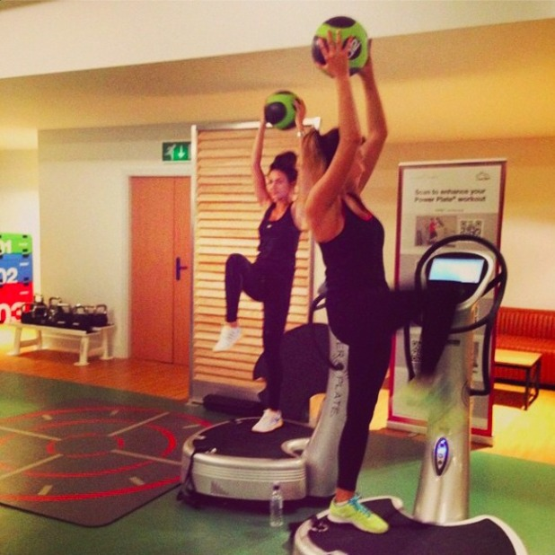 Jessica Wright and Michelle Keegan work out together, 8 November 2014