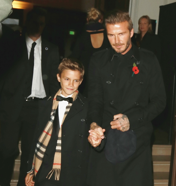 David Beckham and son Romeo attend Burberry festive launch on 3 November.