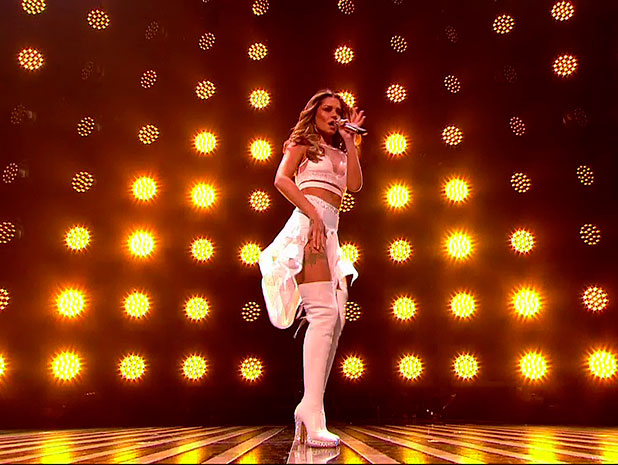 Judge Cheryl Fernandez-Versini performing 'I Don't Care' on the results show of 'The X Factor'. Shown on ITV1 HD, 2 November 2014