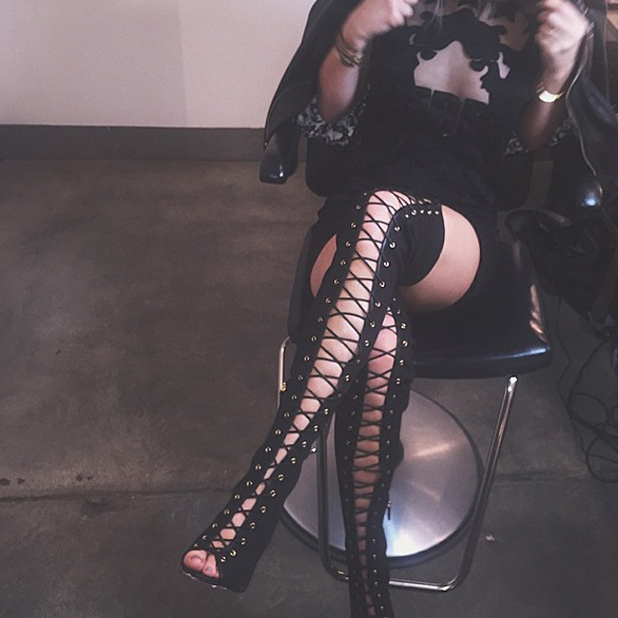 Kylie Jenner posts picture of risque boots on Instagram on 6 November 2014