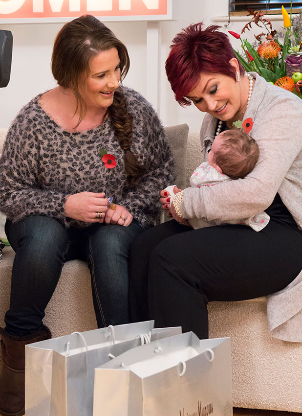Sharon Osbourne meets her goddaughter - Miley, the daughter of Sam Bailey - for the first time, on 'Loose Women'. Shown on ITV1 HD.