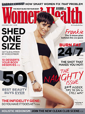 Frankie Bridge poses in the new issue of Women's Health December, on sale Wednesday 5 November.