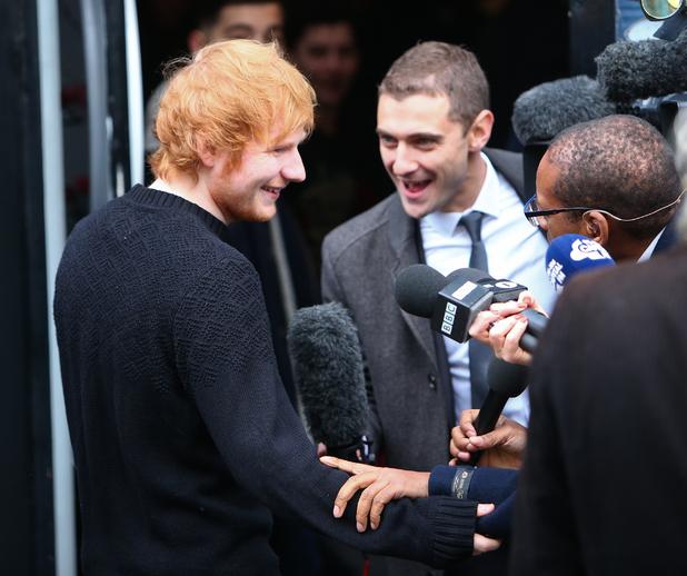 Ed Sheeran arrives to record Band Aid 30 at Sarm Studios in Notting Hill, 15 November 2014