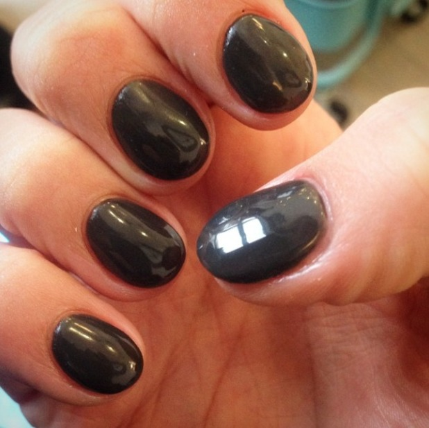 Ferne McCann shows off her new slate grey, gel nails, thanks to Claire Tipler, Tips Nail Bar, 11 November 2014