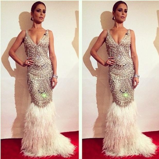 Cheryl Fernandez-Versini wears sequinned and feathered Naeem Khan gown on X Factor live show, 15 November 2014