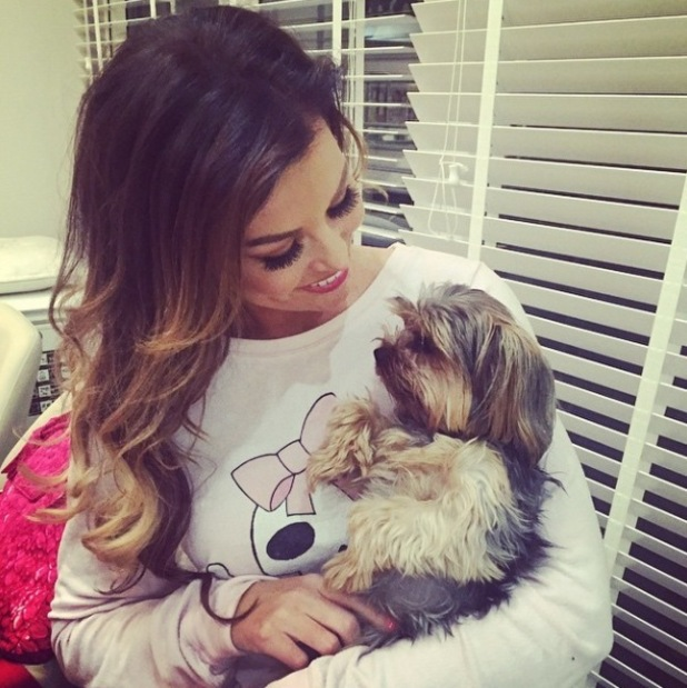 TOWIE's Jessica Wright cuddles up to her pet dog Bella - 12 Nov 2014