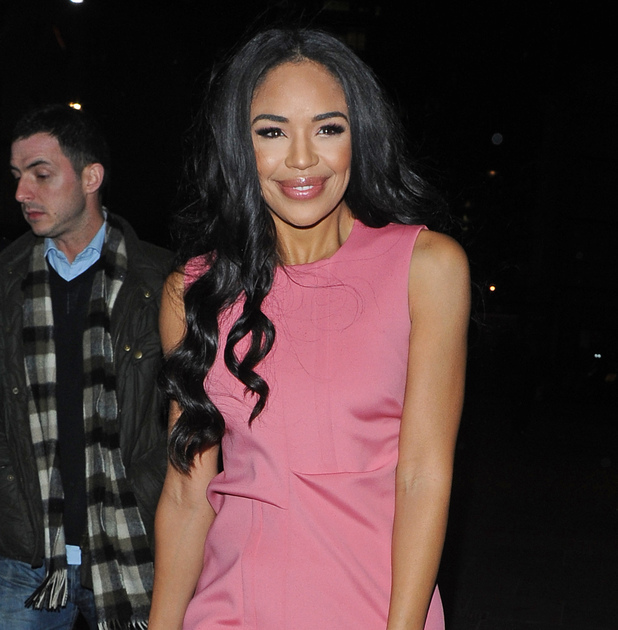 Sarah-Jane Crawford wears a pink dress while heading to SUSHISAMBA's second birthday party - 11 November 2014
