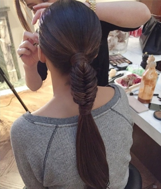 Rochelle Humes shows off her wrap-over fishtail braid hairstyle, created by Mikey Kardashian - 13 November 2014