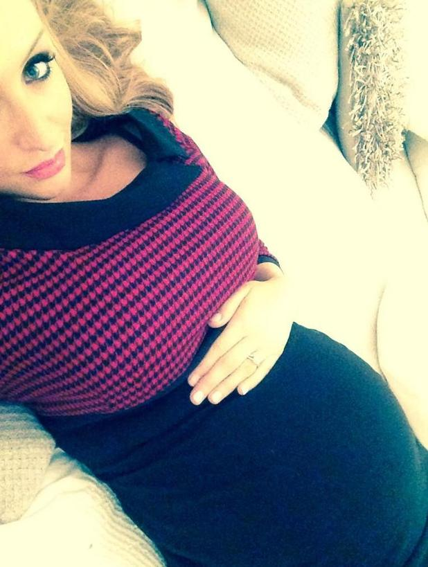 Pregnant Catherine Tyldesley shows off growing baby bump in Twitter selfie - 13 November.