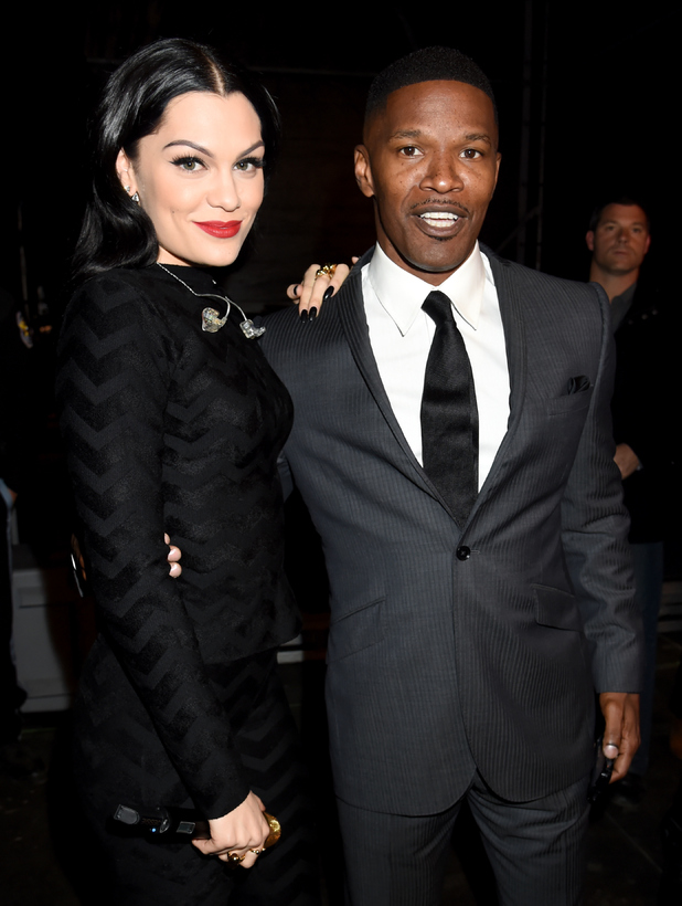 Jessie J and Jamie Foxx pose backstage at 'The Concert For Valor' at The National Mall on November 11, 2014 in Washington, DC.
