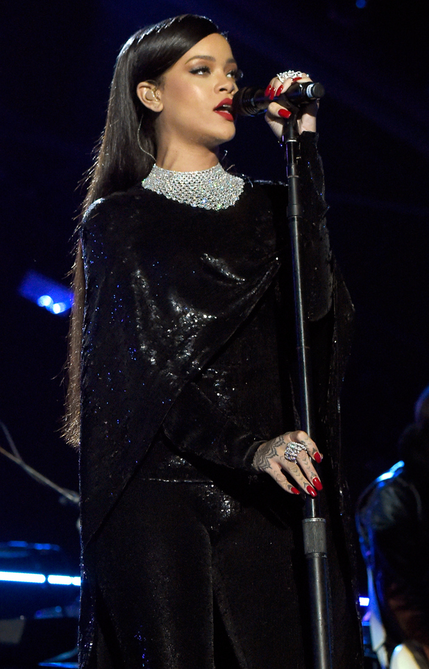 Rihanna wears a sequin outfit while performing at The Concert for Valor: Saluting America's Veterans in Washington, D.C. - 11 November 2014