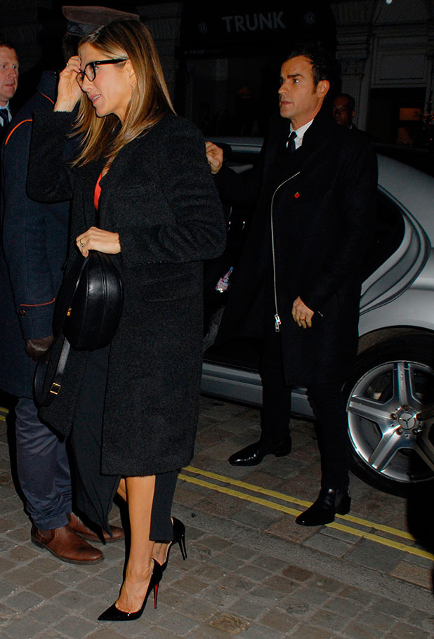 Jennifer Aniston and Justin Theroux visit Chiltern Firehouse after Horrible Bosses 2 premiere in London, 12 November 2014
