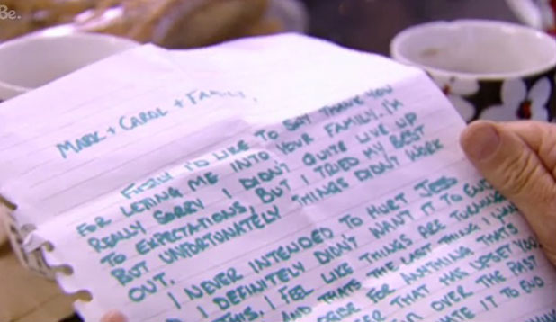 TOWIE: Carol Wright reads a letter from Ricky Rayment, episode aired 9 November 2014