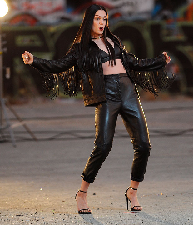 """Jessie J wearing all black leather for her latest music video """"Masterpiece"""" filming in downtown Los Angeles, 13 November 2014"""