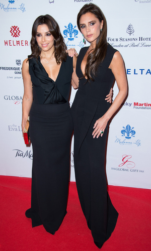 Eva Longoria and Victoria Beckham attend the 5th Global Gift Gala hosted by honorary chair Eva Longoria at the Four Seasons Hotel on November 17, 2014 in London, England.