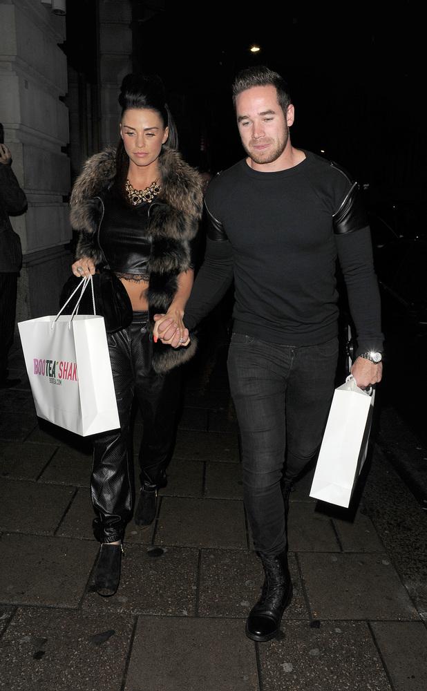 Katie Price aka Jordan, arriving at Novikov restaurant in Mayfair, with husband Kieran Hayler