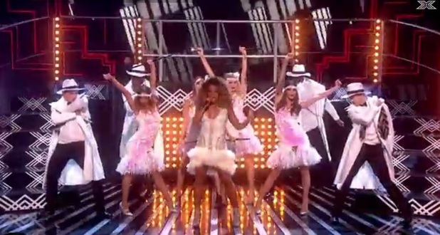 Fleur East performing on the X Factor, ITV 15 November