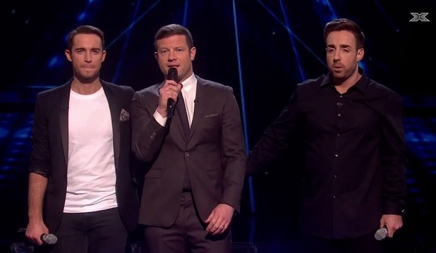 X Factor: Stevi Ritchie and Jay James await the judges' vote on episode 16 November 2014