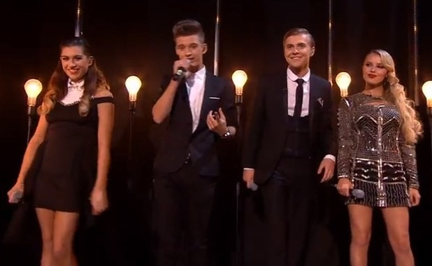 Only The Young's Mikey Bromley, Charlie George, Parisa Tarhomani and Betsy-Blue English perform on The X Factor - 15 November 2014