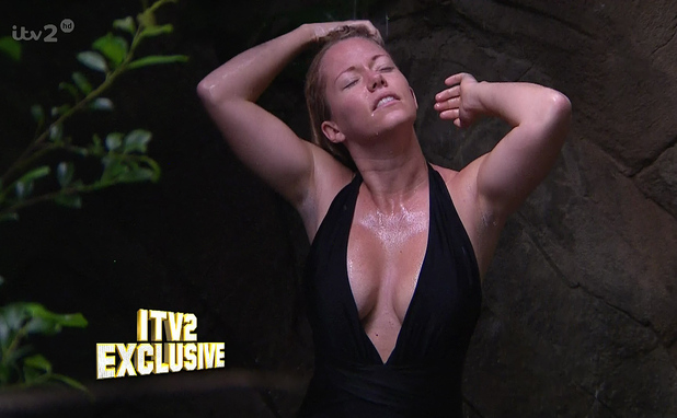 Kendra Wilkinson is seen showering in a black swim suit in a exclusive clip for 'I'm A Celebrity... Get Me Out Of Here Now!'. 17 November 204.