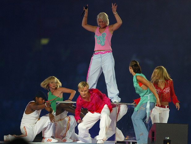 S Club 7 performing during the Opening Ceremony at the City of Manchester Stadium during the 2002 Commonwealth Games in Manchester, England on July 25, 2002.